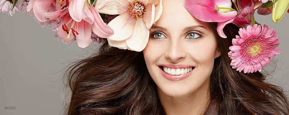 AAMedspa_Wrinkle treatment_Brunette in flowers