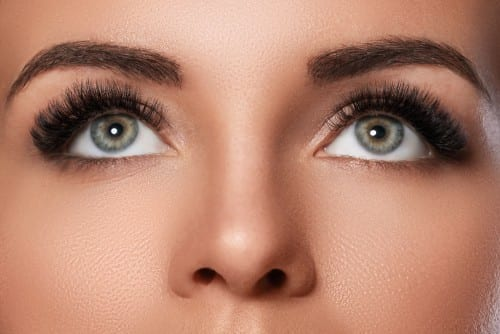 Close Up of Woman's Hazel Eyes and Nose