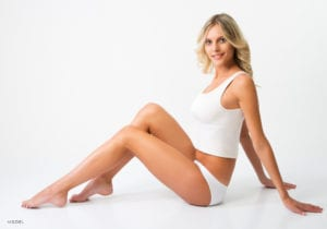 Blonde Woman Sitting on Floor underwear and Shirt